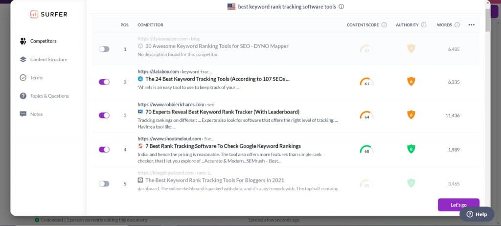 surfer seo content editor results