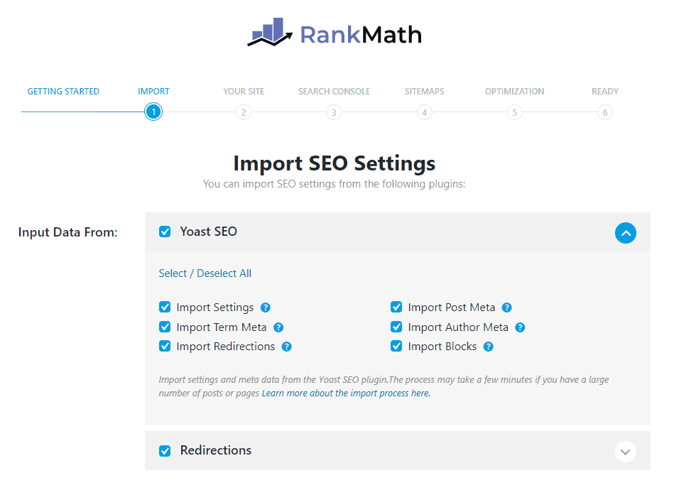 import seo setting from other seo plugins to rank math