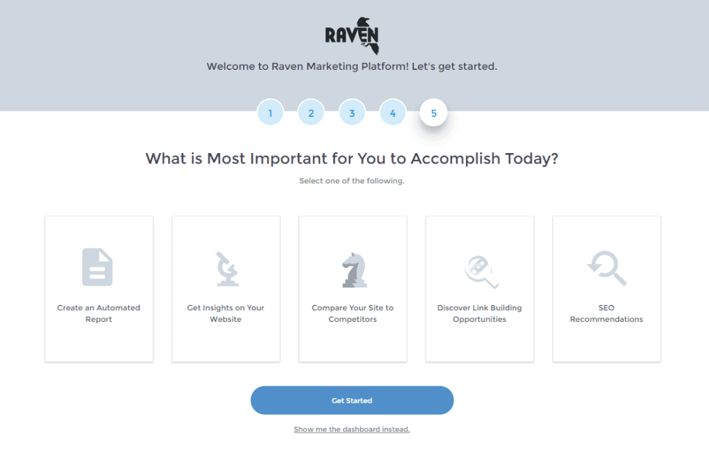 raven tools setting up an account