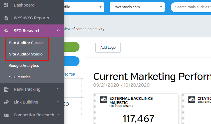 raven tools - performing an seo audit